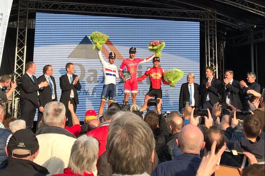 Il podio della Nokere Koerse 2017