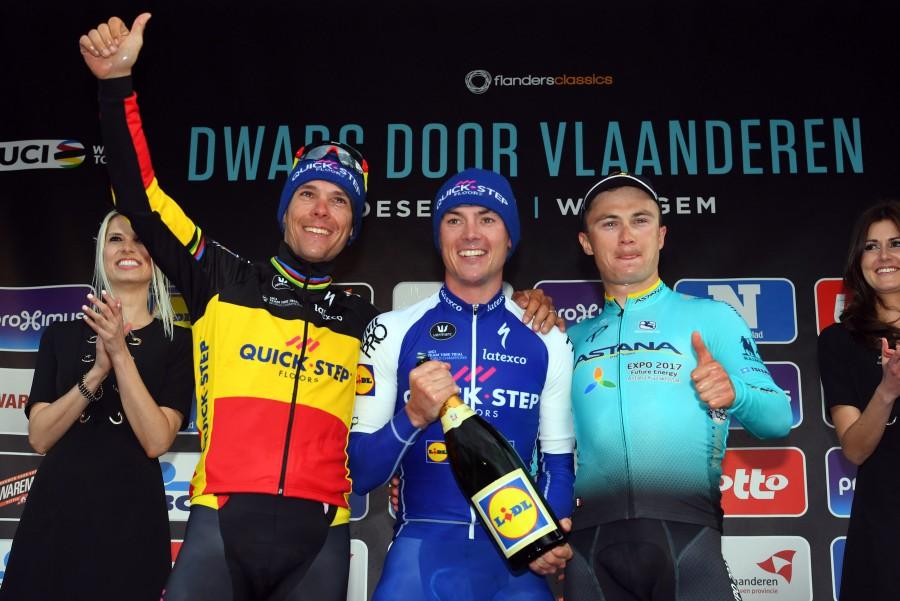 Il podio della Dwars Door Vlaanderen 2017
