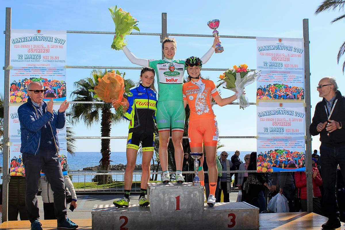 Il podio Donne Junior del Gp d'Apertura di Sanremo