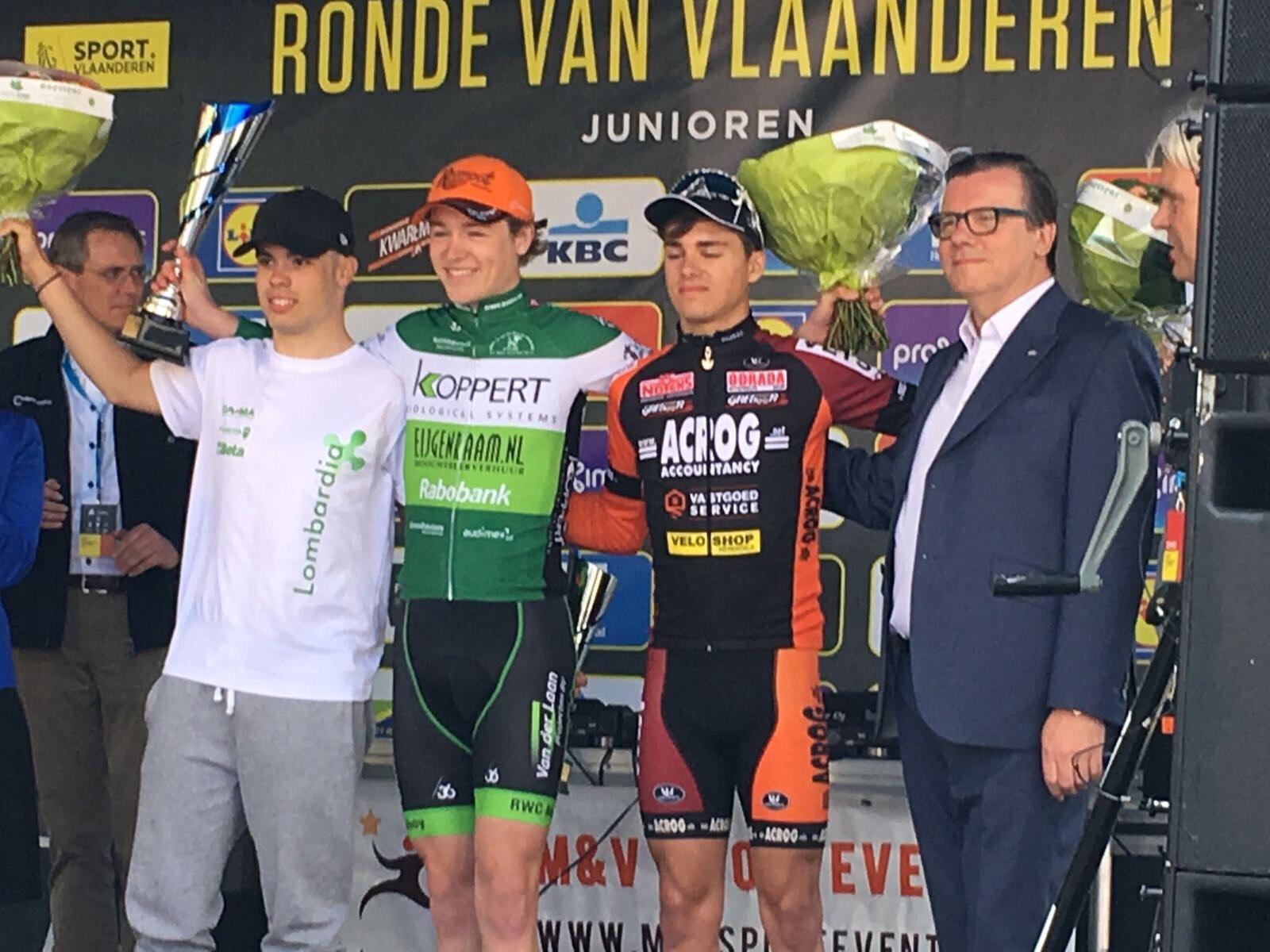 Il podio del Giro delle Fiandre Juniores 2017
