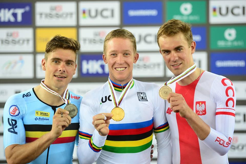 Il podio della Corsa a punti maschile