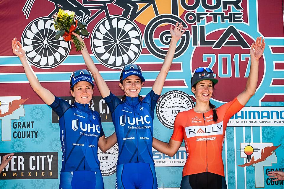 Katharine Hall sul primo gradino del podio della prima tappa del Tour of the Gila 2017