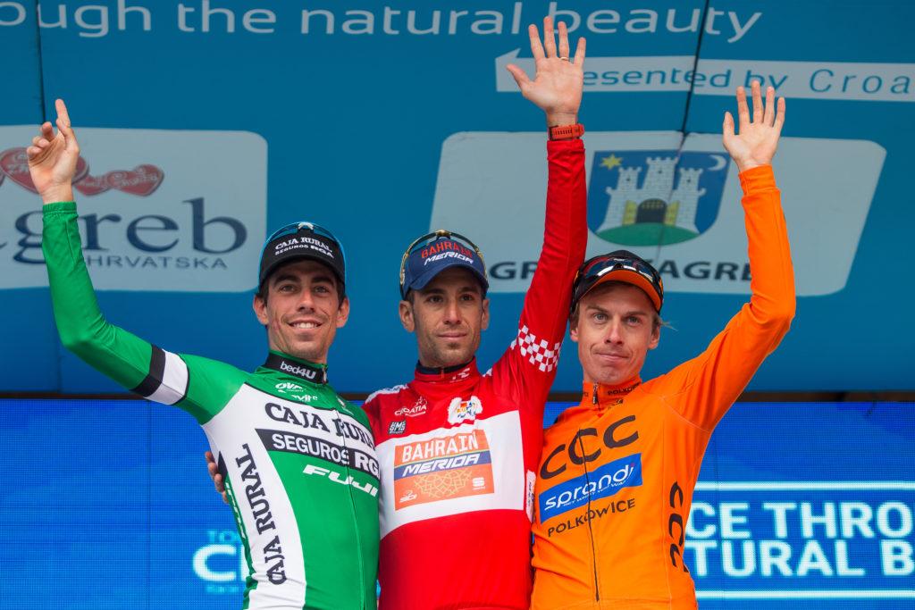 Il podio finale del Tour of Croatia 2017 vinto da Vincenzo Nibali