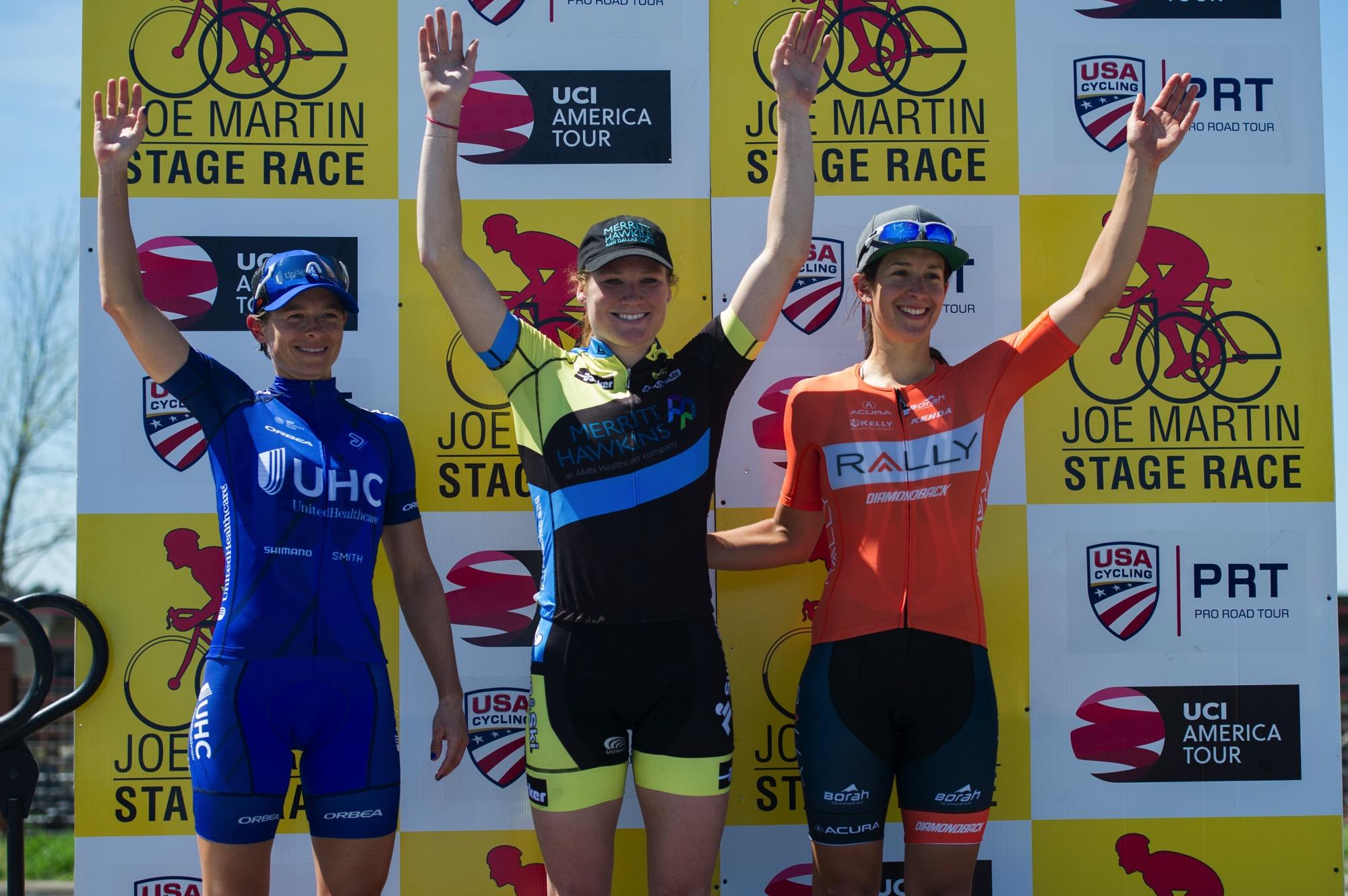 Il podio della terza tappa della Joe Martin Stage Race (foto Ethan Glading)