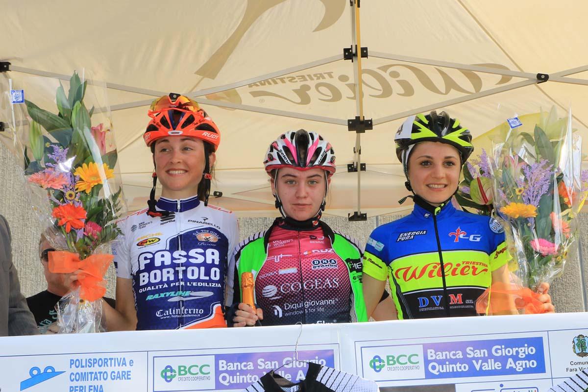 Il podio della gara di San Giogiro di Perlena vinta da Nikola Noskova