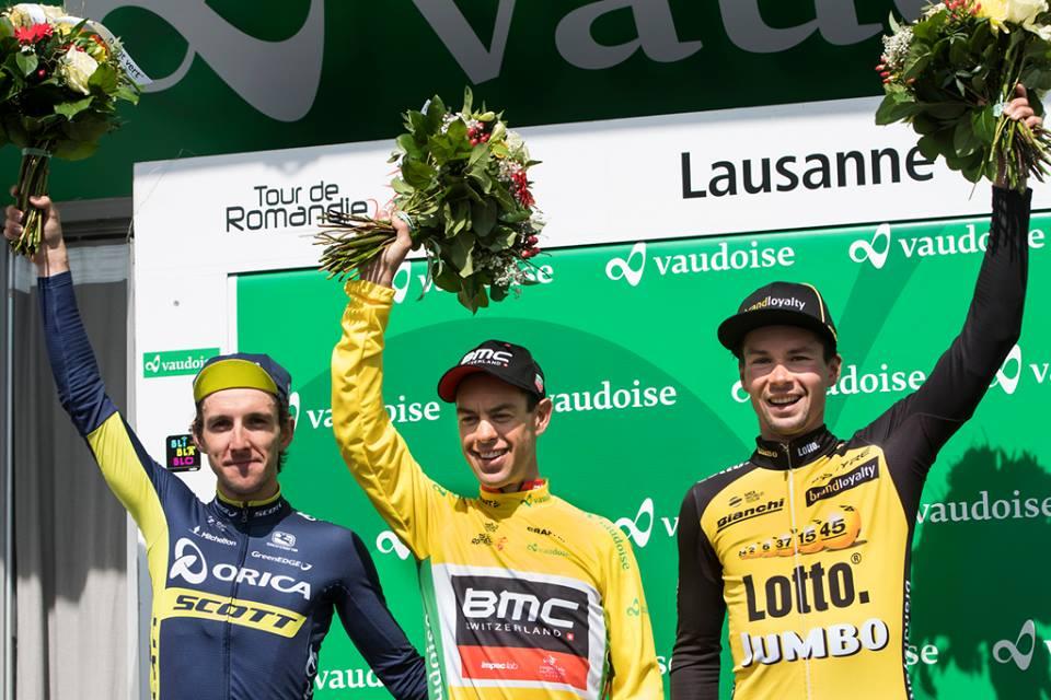 Il podio finale del Tour de Romandie 2017 vinto da Richie Porte