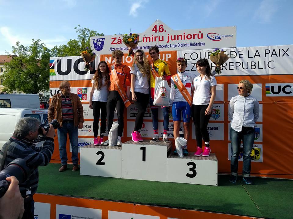 Il podio della prima tappa della Corsa della Pace Juniores 2017