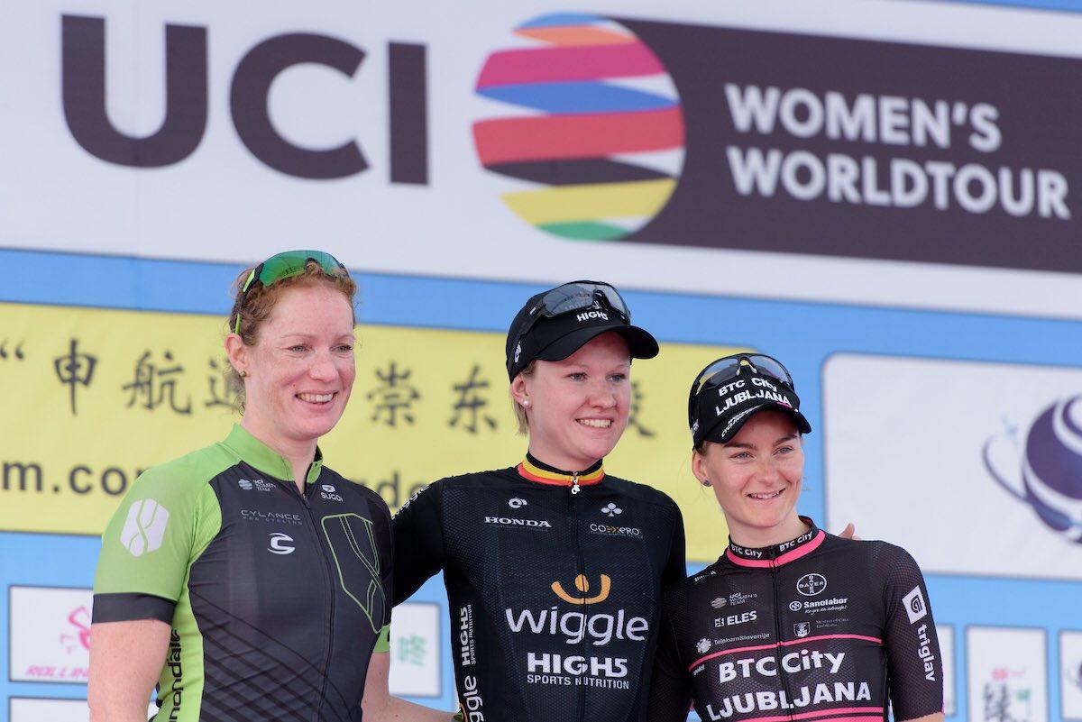 Il podio della seconda tappa del Tour of Chongming Island