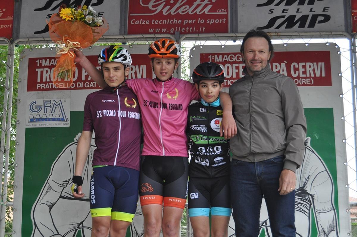 Il podio della gara Esordienti 1° anno di Praticello di Gattatico