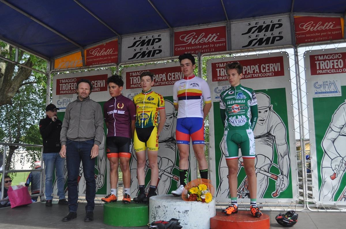 Il podio della gara Esordienti 2° anno di Praticello di Gattatico