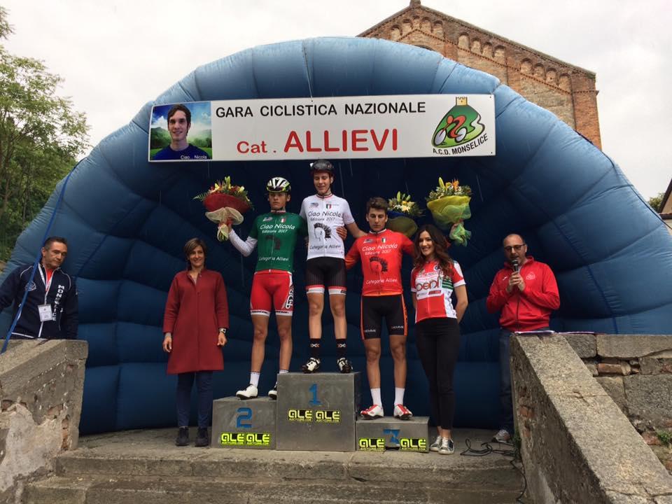 Il podio della gara Allievi di Monselice