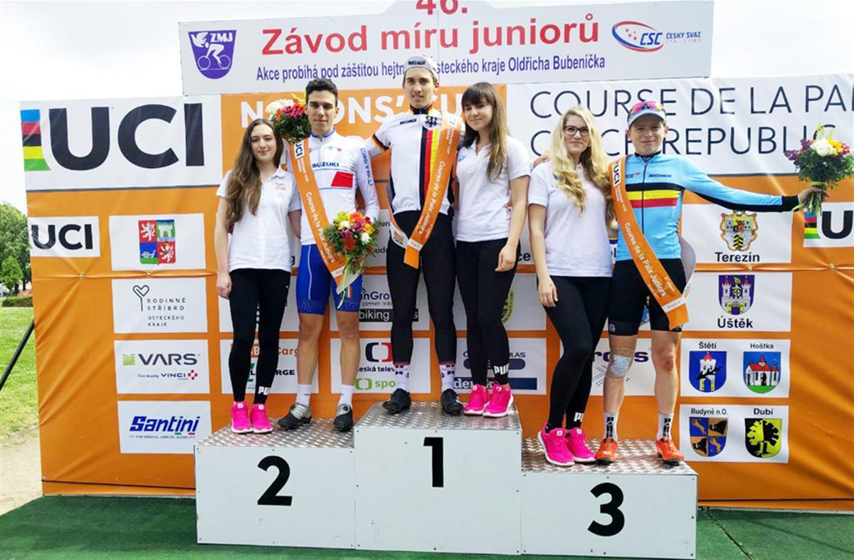 Il podio dell'ultima tappa della Corsa della Pace Juniores 2017