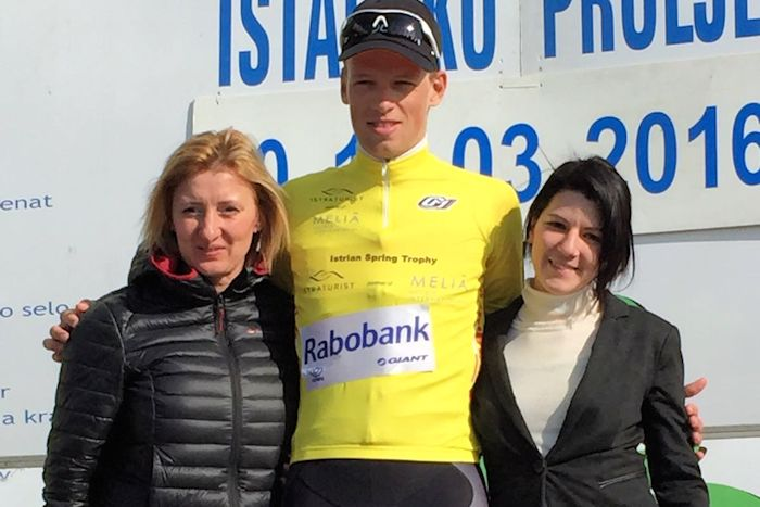 L'olandese Martijn Tusveld (Rabobank Development) sale in cattedra all'Istrian Spring Trophy