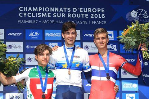 Il podio del Campionato Europeo a cronometro Juniores