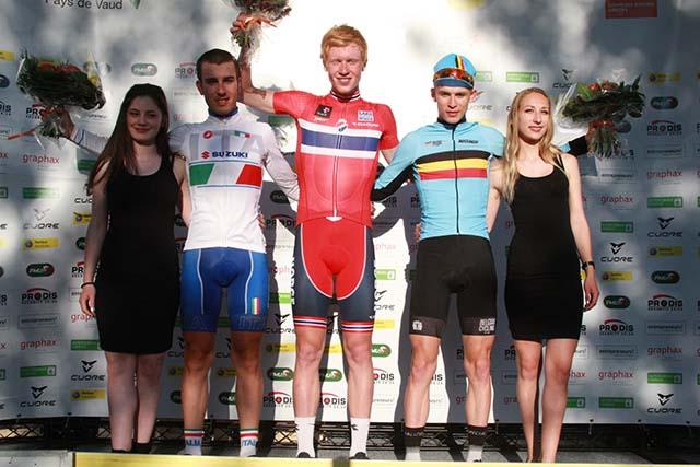 Il podio della prima tappa del Tour du Pays de Vaud 2017
