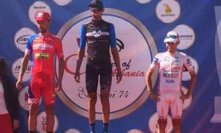 Il podio della prima tappa del Tour of Albania vinta da Ficara su Rabottini e Bongiorno