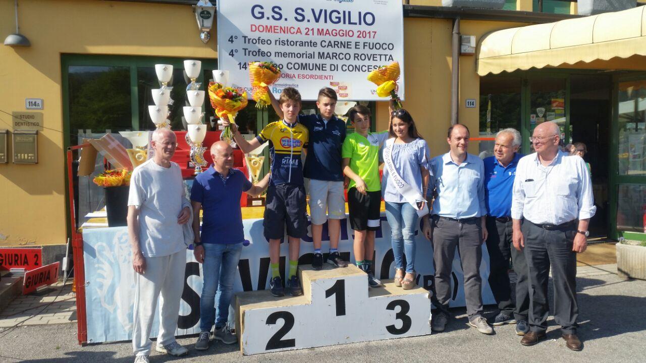 Il podio della gara Esordienti 1° anno di San Vigilio di Concesio vinta da Giorgio Gavazzi