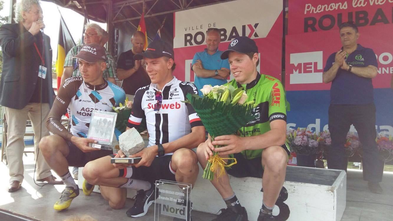 Il podio della Parigi-Roubaix Espoirs 2017
