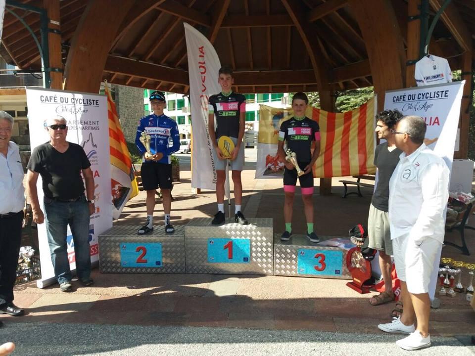 Il podio dell'ultima prova del Tour PACA 2017 vinta da Luca Cavallo
