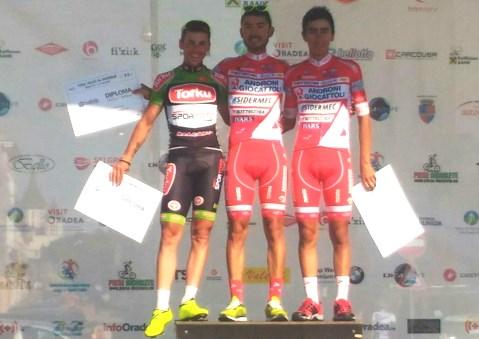 Il podio della seconda tappa del Tour of Bihor vinta da Rodolfo Torres