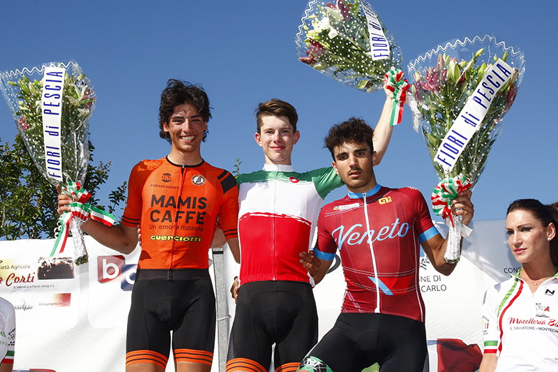 Il podio del Campionato Italiano Strada 2017