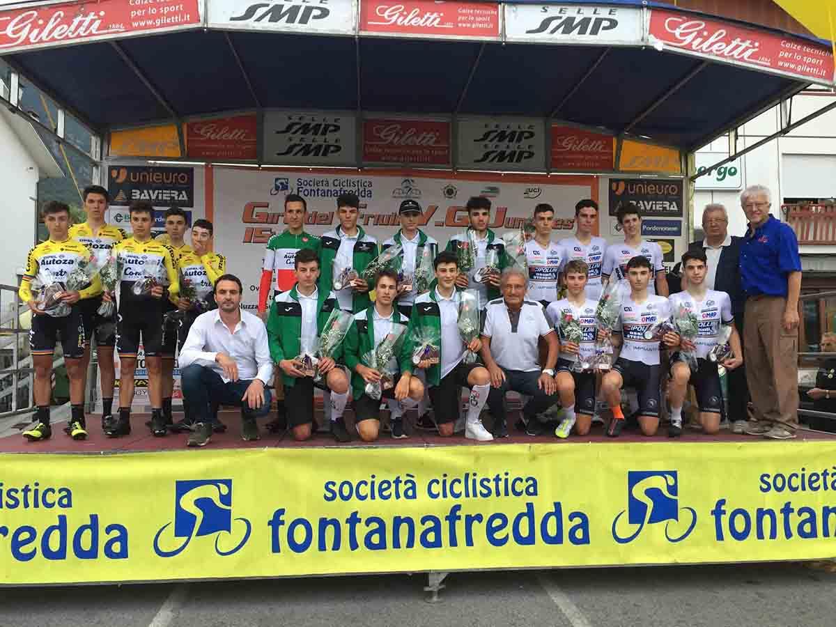 Il podio della cronosquadre del Giro del Friuli Juniores 2017