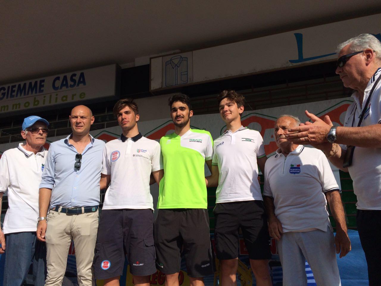 Il podio della gara Juniores di Bedizzole vinta da Filippo Pastorelli
