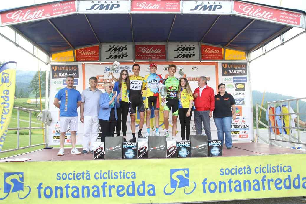 Il podio della terza tappa del Giro del Friuli Juniores 2017