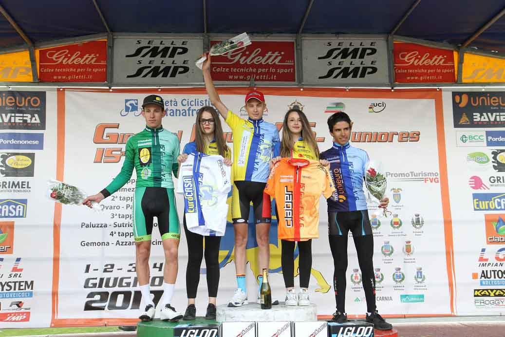 Le maglie dopo la terza tappa del Giro del Friuli Juniores 2017