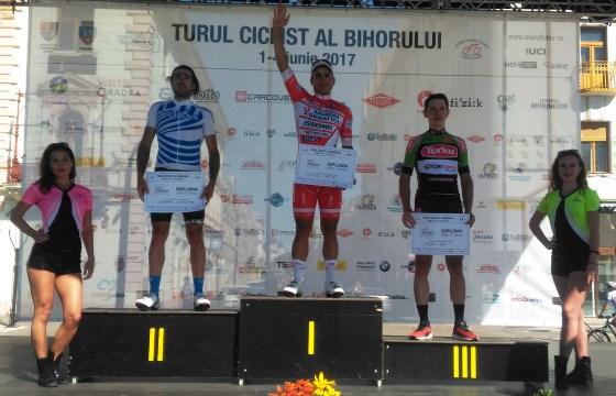 Il podio della prima tappa del Tour of Bihor vinta da Malucelli