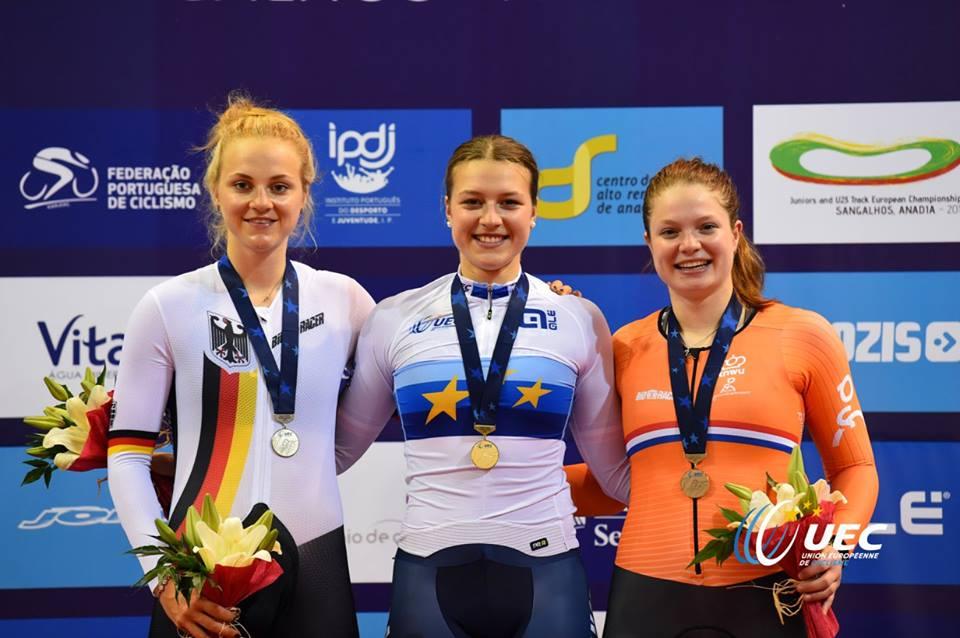 Il podio dell'Europeo Velocità Donne Junior