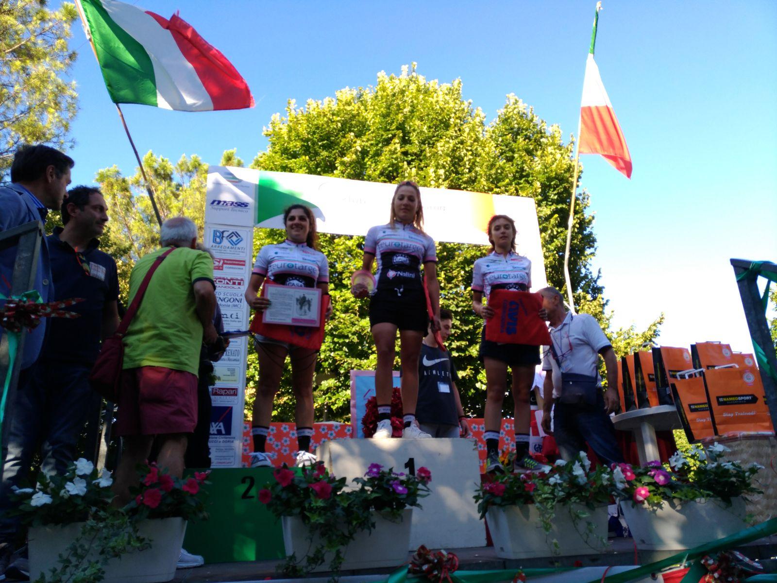 Il podio della gara Donne Open di Corridonia vinta da Angelica Brogi