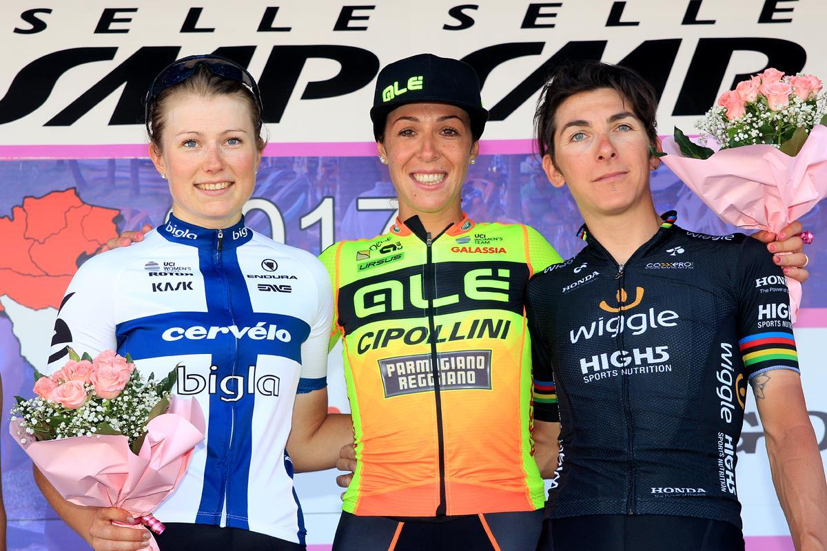 Il podio della nona tappa del Giro Rosa 2017