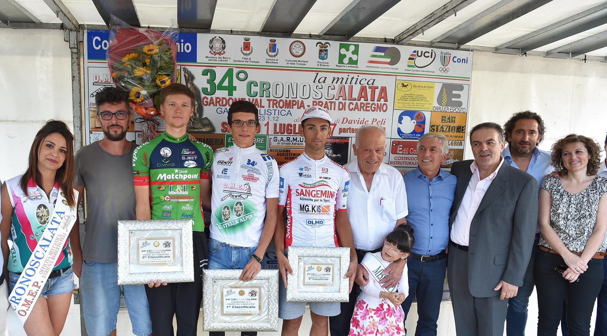 Il podio della Cronoscalata Gardone V.T. - Prati di Caregno 2017