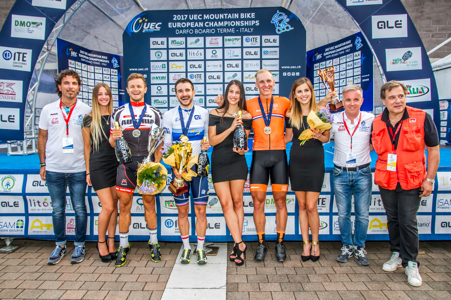 Il podio maschile del Campionato Europeo XCE 2017 a Darfo Boario Terme