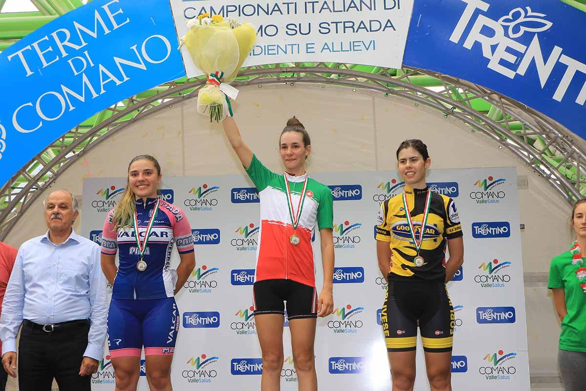 Il podio del Campionato Italiano Donne Esordienti 2° anno di Comano Terme vinto da Francesca Barale