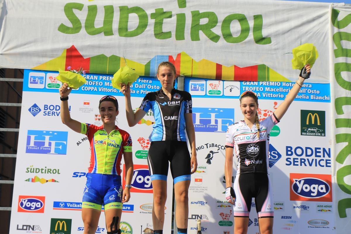Il podio Donne Junior del 5° Gp Hotel Fiera di Bolzano