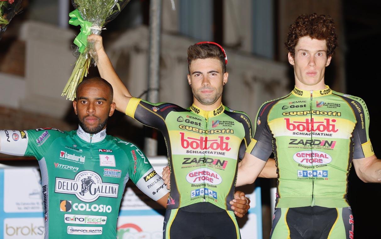 Il podio della Notturna di San Donà di Piave vinta da Gianmarco Begnoni