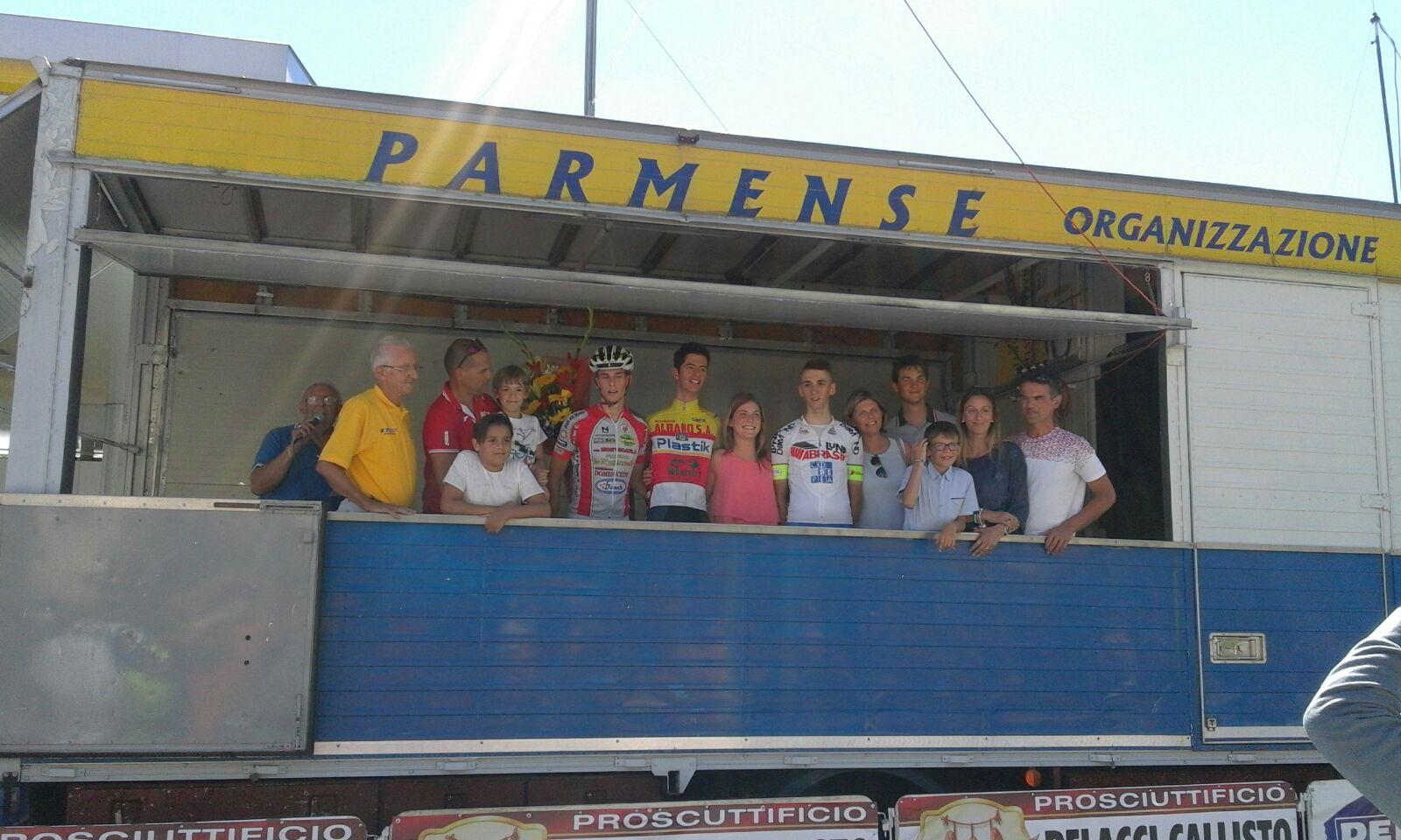Il podio della gara Allievi di Bedonia vinta da Yuri Brioni