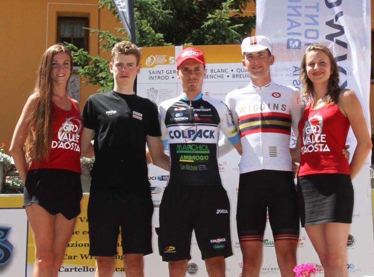 Il podio dell'ultima tappa del Giro della Valle d'Aosta 2017