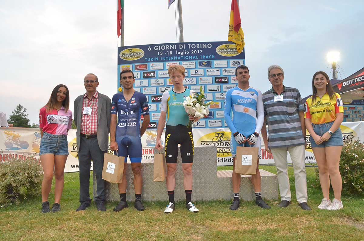Il podio della corsa a punti UCI: Shatovkin, Ramos, Velasquez