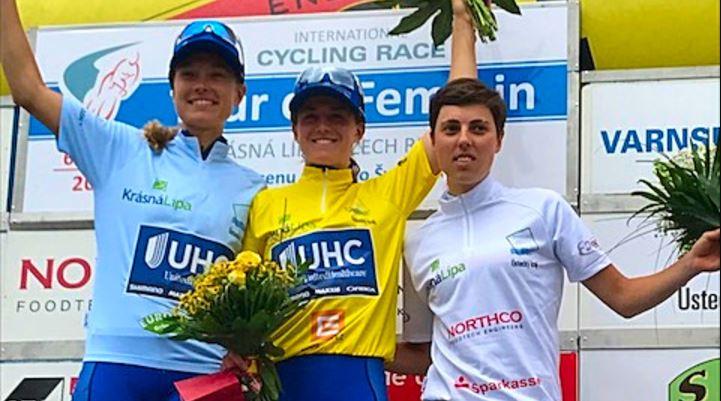 Ruth Winder in maglia gialla vincitrice del Tour de Femenin 2017
