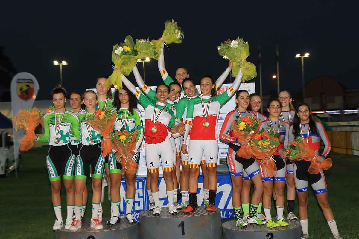 Il podio del Campionato Italiano Inseguimento a squadre Donne Allieve