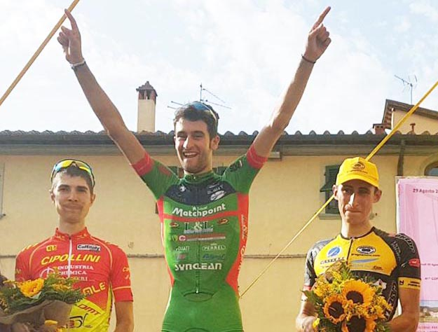 Il podio della Castelfranco di Sopra-Piandiscò vinta da Luca Raggio