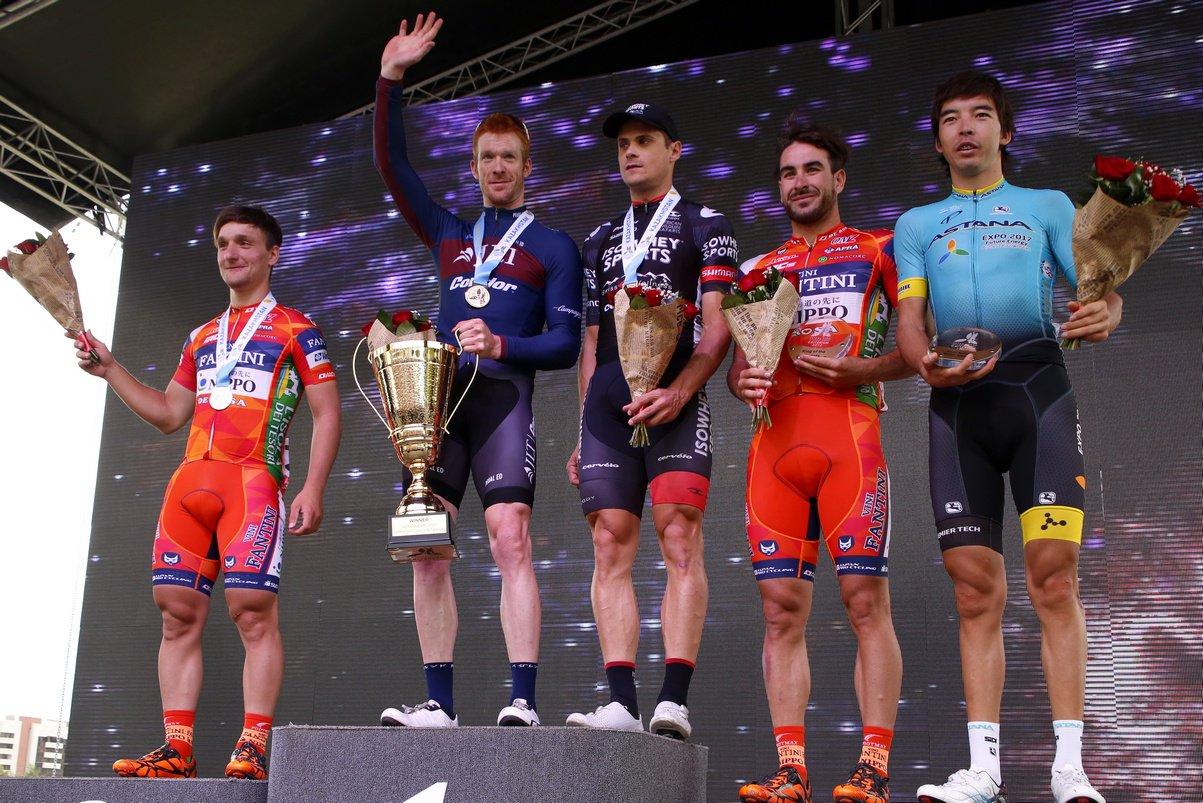 Il podio dell'International Criterium Astana