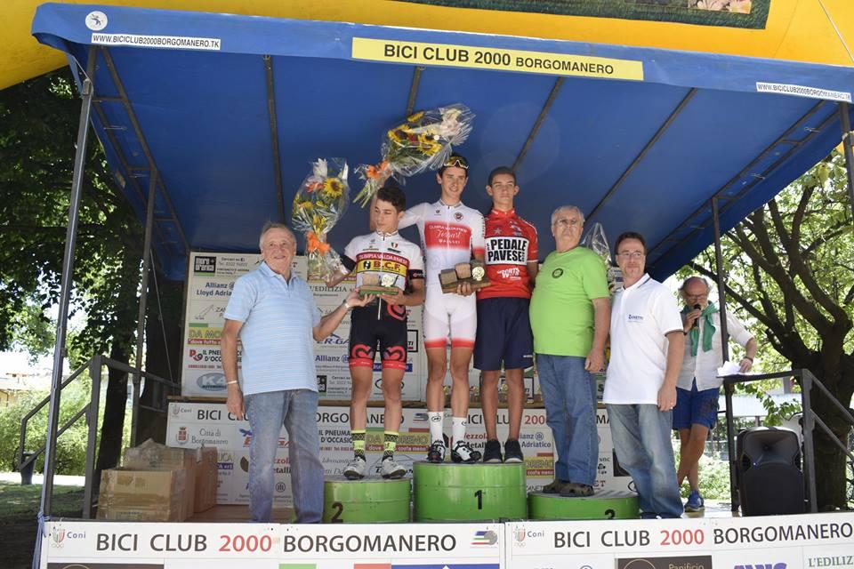 Il podio della gara Allievi di Borgomanero vinta da Antonio Tiberi