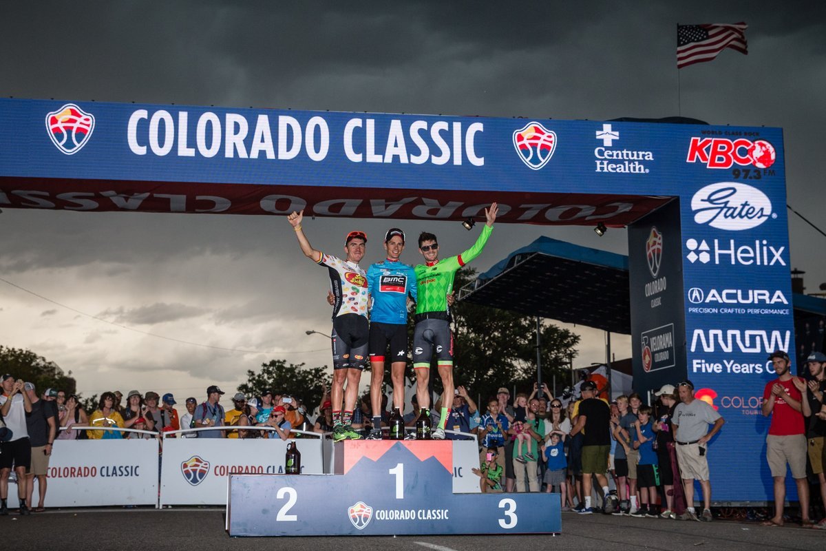 Il podio finale del Colorado Classic vinto da Manuel Senni