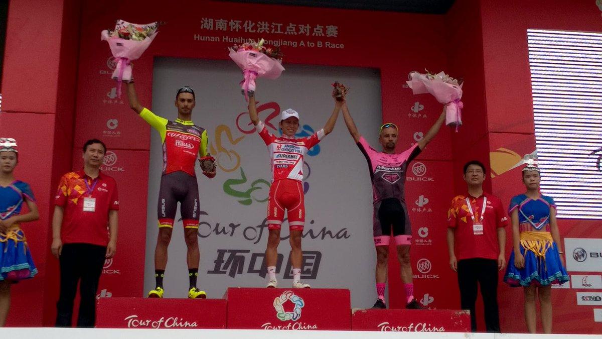Il podio della prima tappa del Tour of China II vinta da Kevin Rivera