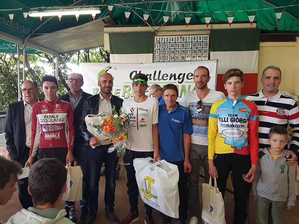 Il podio della Cronoscalata Cene-Altino 2017