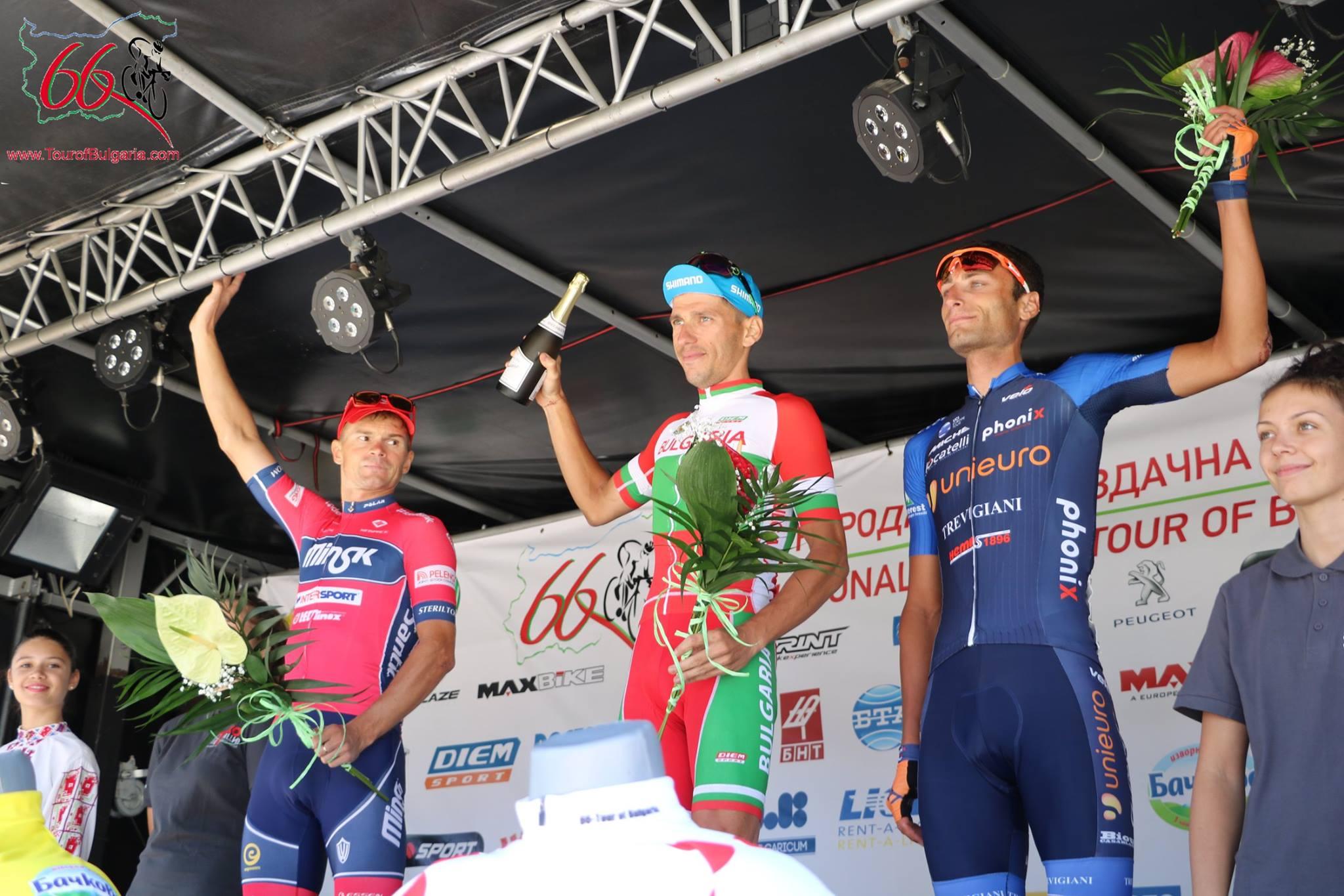 Il podio della prima semitappa della seconda tappa del Tour of Bulgaria 2017